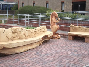 Friends of St. Mary's Hospital Bench and Hare with fiddle